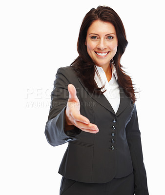 Buy stock photo A successful business woman stretches out her hand to shake hands with someone