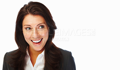 Buy stock photo Happy business woman looking away, isolated against white