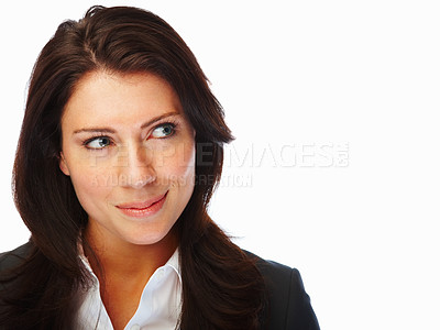Buy stock photo Portrait of a successful business woman looking at copyspace and smiling
