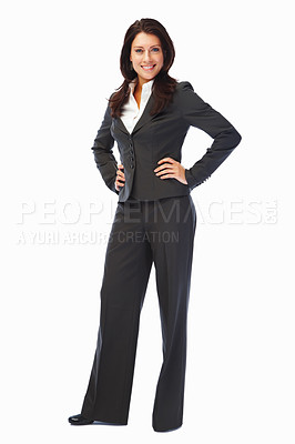 Buy stock photo Portrait of a young confident business woman on white background