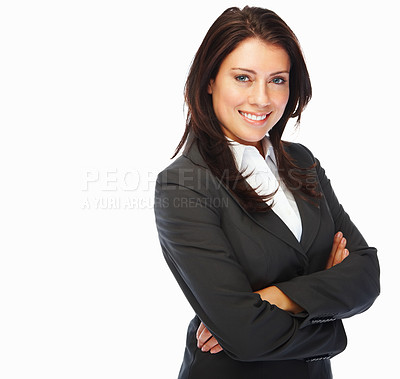 Buy stock photo Portrait of a cute woman smiling on white background
