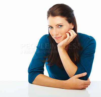 Buy stock photo Attractive young woman smiling over white background