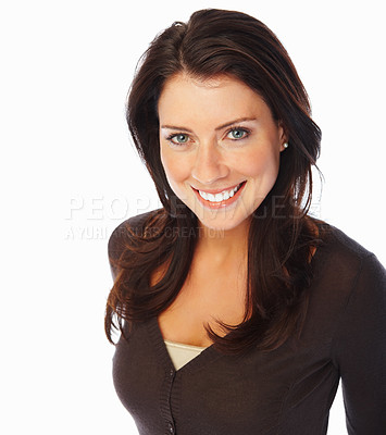 Buy stock photo Portrait of a pretty young woman smiling over white background