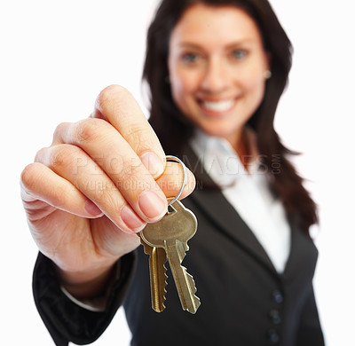 Buy stock photo Business woman holding keys over white background