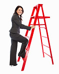 Successful business woman climbing a red ladder over white background