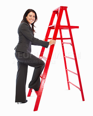 Buy stock photo Full length image of a business woman climbing a ladder on white background
