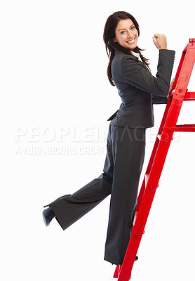 Buy stock photo Happy young business woman climbing a red ladder on white background