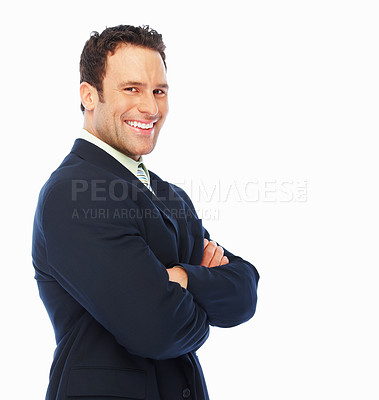 Buy stock photo An attractive young business man posing against white background