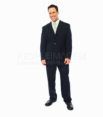 Buy stock photo Full length image of a handsome business man isolated on white background