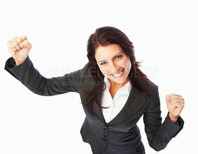 Buy stock photo Portrait of a happy business woman with hands raised on white background
