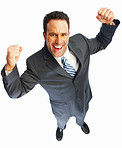Winner: Excited young business man over white background