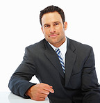 Confident business man isolated against white background