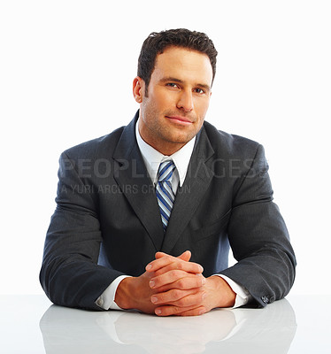 Buy stock photo Portrait of a patient young business man isolated against white background