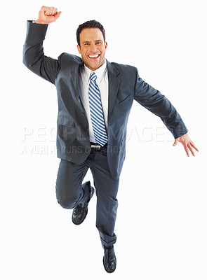 Buy stock photo Full length image of an excited business man over white background