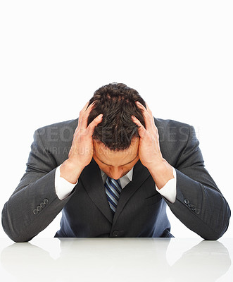 Buy stock photo Business man with a head ache, isolated on white background