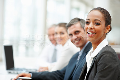 Buy stock photo Portrait of a cute African American business woman at a conference