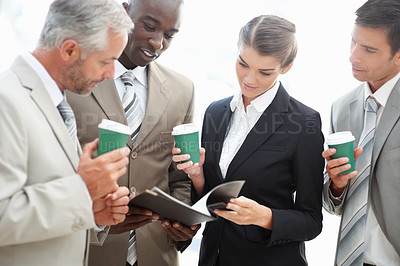 Buy stock photo Portrait of business people communicating issues over white background