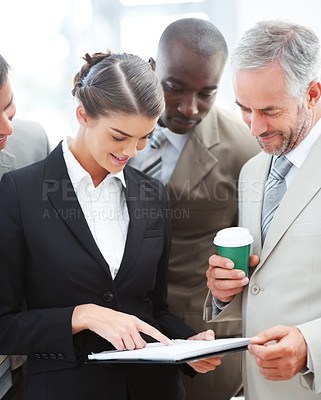 Buy stock photo Portrait of a young beautiful cute female in black showing documents to her boss