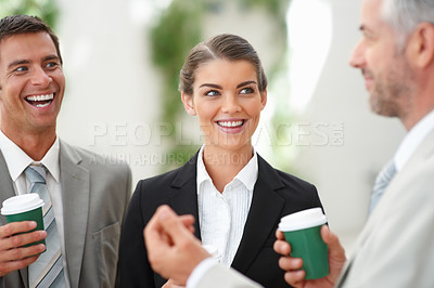 Buy stock photo Group of successful business people having fun in the break time