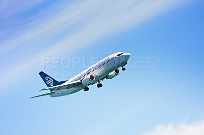 Buy stock photo A photo of an airliner in mid-flight