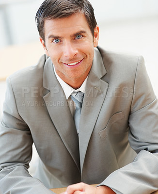 Buy stock photo Portrait of a happy young business man