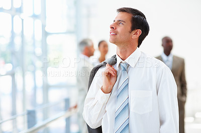Buy stock photo Portrait of a successful business man looking upwards