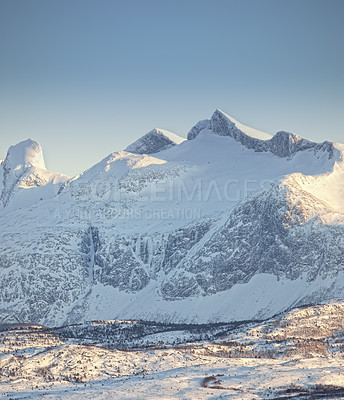 Buy stock photo A beautiful view of snow-capped mountains