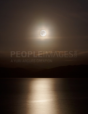 Buy stock photo Landscape photo of moonshine - natural