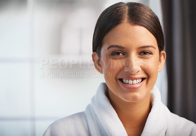 Buy stock photo Portrait of a beautiful young woman wearing a white robe