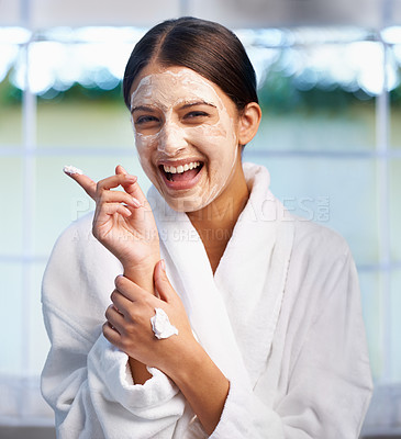 Buy stock photo Portrait of a young woman wearing a facial mask