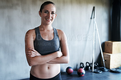 Buy stock photo Portrait of an attractive young woman at the gym