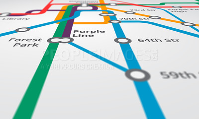 Buy stock photo Cropped view of a map of the underground railway lines - ALL design on this image is created from scratch by Yuri Arcurs'  team of professionals for this particular photo shoot
