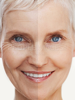 Buy stock photo Before and after shot of a beautiful senior woman's face