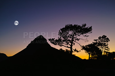 Buy stock photo A silhouette of Lion's Head in Cape Town, South Africa