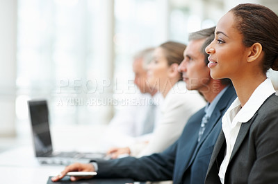 Buy stock photo Portrait of a business woman at a business conference
