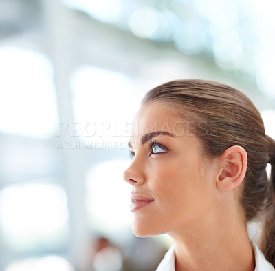 Buy stock photo Portrait of a cute successful business woman looking away