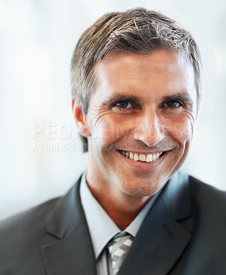 Buy stock photo Closeup of a happy successful business man