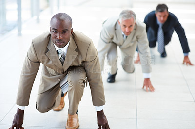 Buy stock photo Portrait of business people ready for competition