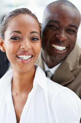 Buy stock photo Portrait of an African American business man and woman laughing together