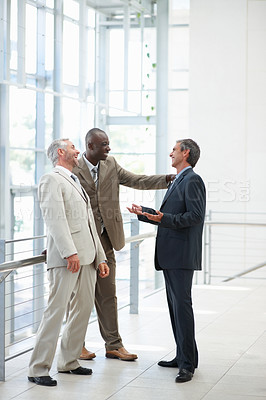 Buy stock photo Portrait of three business men having fun at work