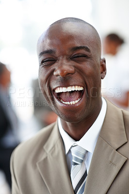 Buy stock photo Portrait of a laughing delighted business man