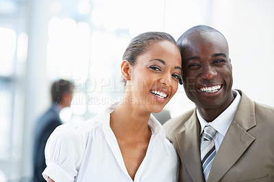 Buy stock photo Portrait of a pretty African American business people smiling together