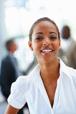 Buy stock photo Portrait of a successful happy African American woman, smiling