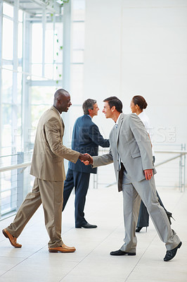 Buy stock photo Teaming up: Portrait of business colleagues shaking hands