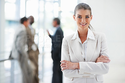 Buy stock photo Portrait of a cute young business woman with hands folded