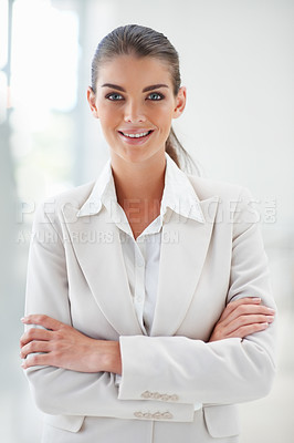Buy stock photo Image of an attractive business woman posing with hands folded
