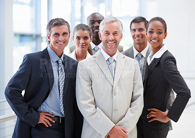 Buy stock photo Image of a group of business people confidently posing together