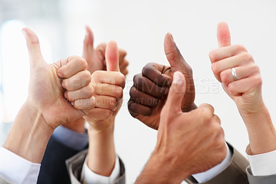 Buy stock photo Closeup of group business people showing a success sign