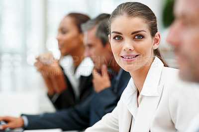 Buy stock photo A lovely gorgeous business woman smiling at a conference