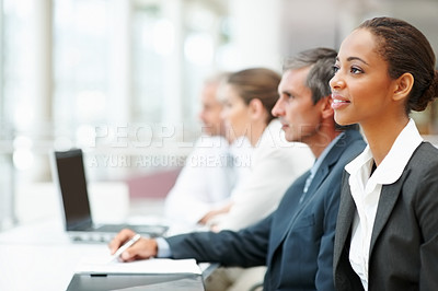 Buy stock photo Portrait of a cute business woman at a business conference